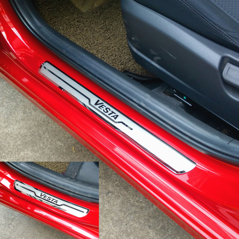 Car Door Sill Trim Covers for LADA VESTA Cross Concept 2015-2019 Stainless Steel Door Sills Scuff Plate for Vesta(China)