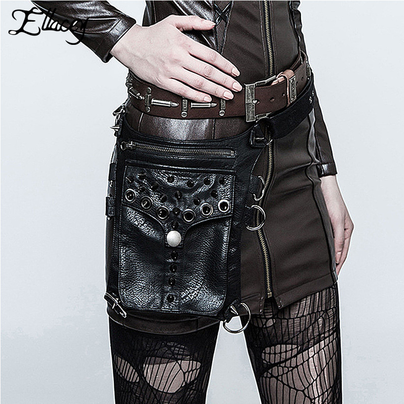 Punk 2018 Men Women Rivet Waist Bag Black Belt Bag Steampunk Vintage PU Pocket Multifunctional Shoulder Messenger Motorcycle Bag fashionable big lip shaped pu rivet shoulder bag messenger bag for women black golden