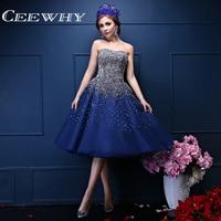 CEEWHY Steetheart Artesanal Grande Beading Tornozelo-Comprimento Vestido de Noite de Cristal Do Partido Formal Marinha Vestido Azul do Baile de finalistas Vestido Vestido de Noite