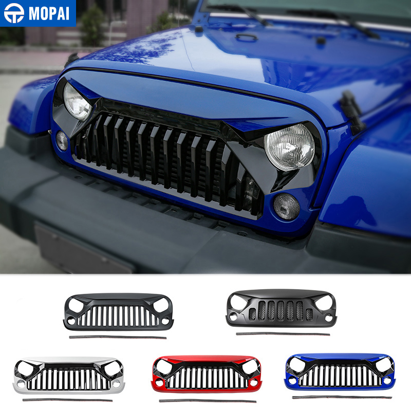 MOPAI Car Racing Grilles for Jeep Wrangler JK 2007 2017 Front Grille Mesh Cover Decoration for