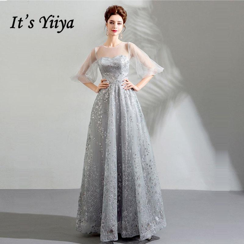 It s YiiYa Evening Dress 2018 O-neck Gray Bling Illusion Half Puff Sleeves  A-line Floor-length Plus size LX1161 robe de soiree edd467a0ca7e