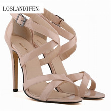 LOSLANDIFEN New Fashion Women Thin Heels Pumps Open Toe Ankle Straps 11cm High Heels Shoes Summer Pumps Patent Leather 102-1