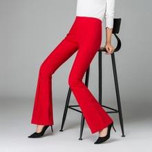 купить!  Женская мода Высокой эластичной талией Белл-Нижний офис Длинные брюки Узкие брюки Flare Dance 2019
