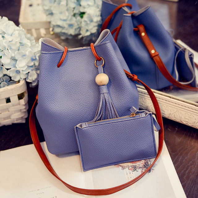 PU Leather Shoulder Sling Bags for Women Drawstring Handbags Composite Ladies Small Crossbody Bucket Bags 5