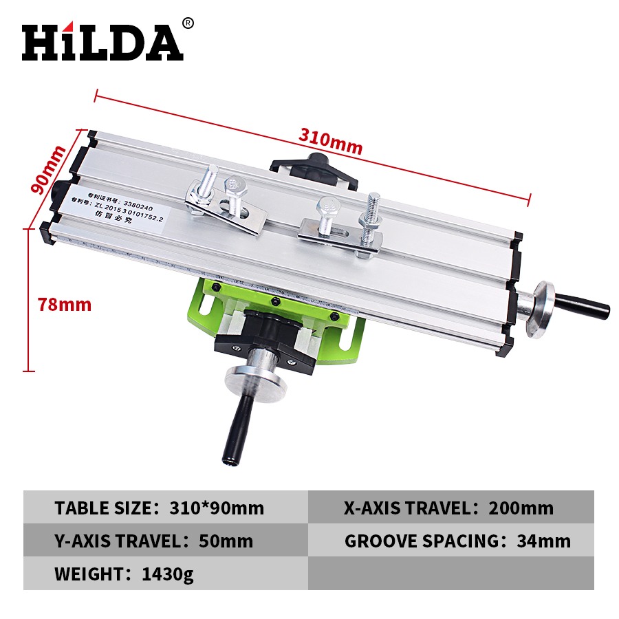HILDA Miniature Precision Multifunction Milling Machine Table Drill Vise Fixture Worktable X Y-axis Adjustment Coordinate Bench