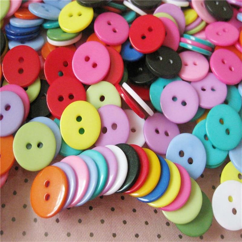 1000 stücke Mischfarbe Knöpfe Scrapbooking Runde Form Harz 2 Löcher 11mm Nähen Knöpfe DIY Dekoration