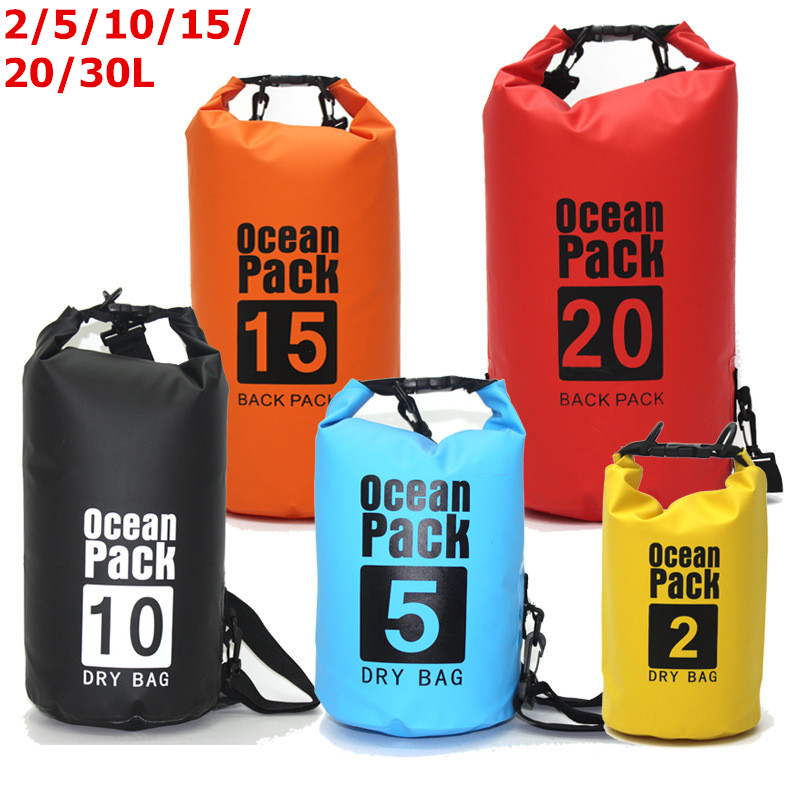 6 Size Outdoor Portable Rafting Diving Dry Bag Sack PVC Waterproof Folding Swimming Storage Bag For River Trekking