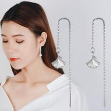 Everoyal True 925 Sterling Silver Earrings For Women Accessories Exquisite Leaf Tassel Drop Girl Gold Bijou