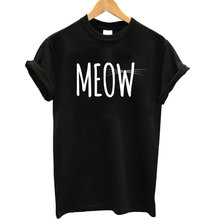 2017 100% Cotton Women Summer Meow Short Sleeve O-Neck T Shirts Cat Print Casual Women's T-Shirts Tops Plus Size