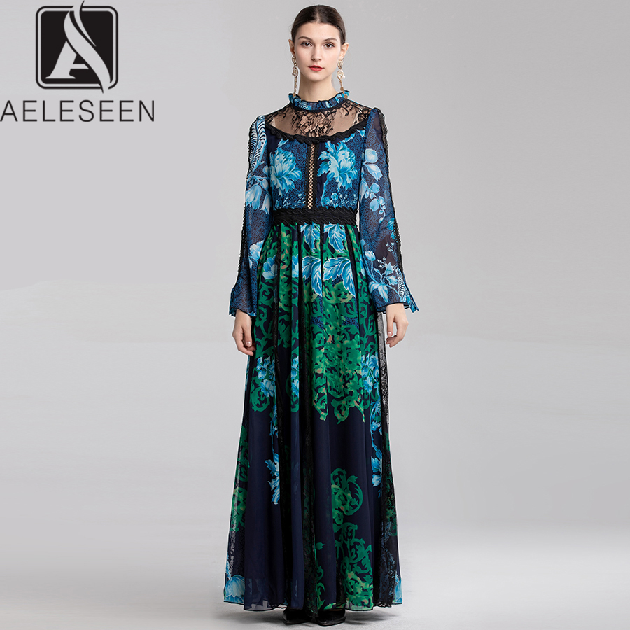 AELESEEN Party Lace Maxi Dresses Women 2019 Summer Ruffled Flare Sleeve Elegant Contrast Color Print High