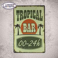 TROPICAL BAR Vintage Tin Sign Bar Pub Home Wall Decor Retro Metal Art Poster Popular Gift