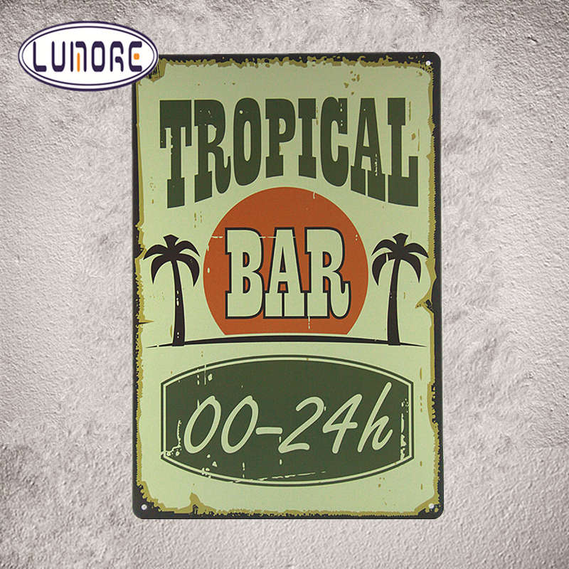 Tin Wall Decor Vintage : Tropical bar vintage tin sign pub home wall decor