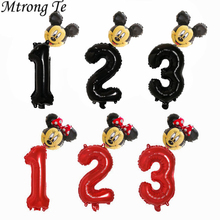 2 Pcs 30 Inch Rood Zwart Nummer Folie Ballonnen Kid Jongens Meisjes 1 2 3 4st Verjaardag Mickey Minnie Hoofd folie Ballon Party Decoraties