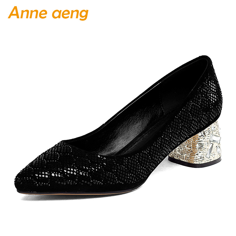 New Spring Autumn Genuine Leather Women Pumps Middle Heels Cow Leather Upper Pointed Toe Sexy Ladies