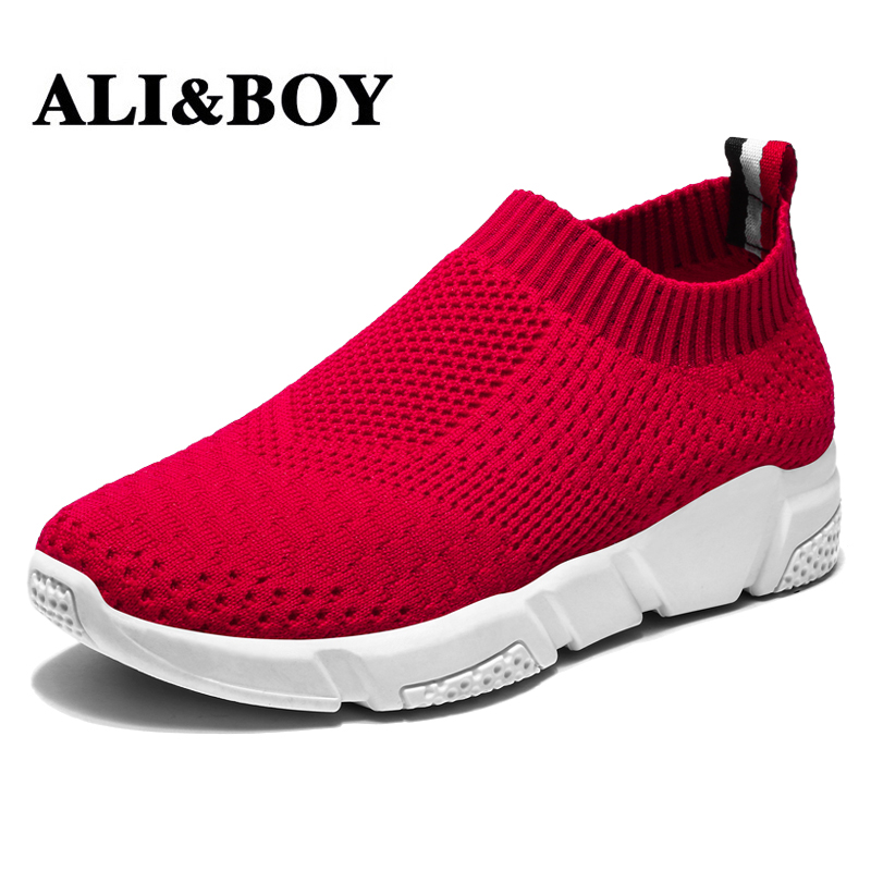 ALIBOY Flying fabric slip-on socks running shoes sports womens mesh sneakers summer sport shoes woman basket femme gumshoes