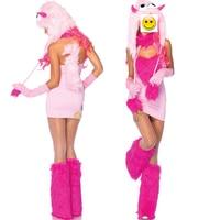 VASHEJIANG Anime Kigurumi Pink Fur Unicorn Costume Adult Fantasia Carnival Sexy Monster Cosplay Women Halloween Costumes