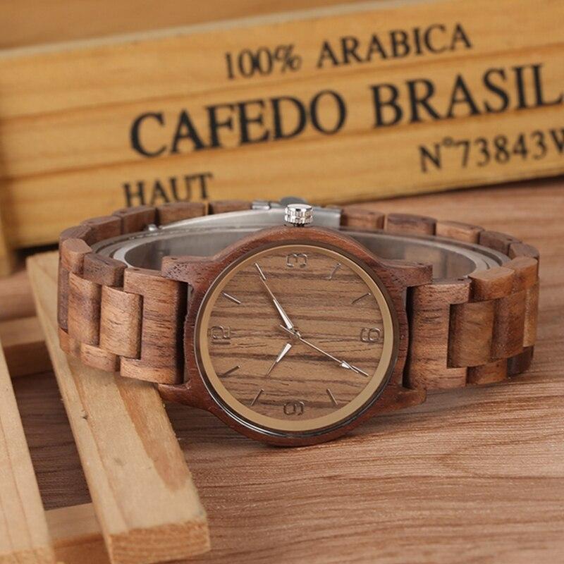 Handmade Walnut Wood Watch for Men Chic Luminous Pointer Quartz Wooden Wristwatch