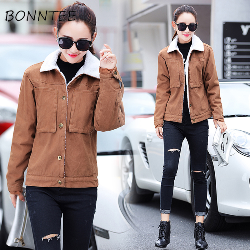 Women   Parkas   Solid Slim Thicker Fashion Soft Warm Single Breasted Elegant Jacket Womens Korean Style All-match Outwear Students