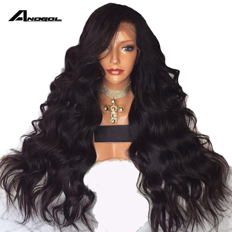 Anogol Long Body Wave 26 Inch Long Black Wig Synthetic Lace Front Wig With Baby Hair