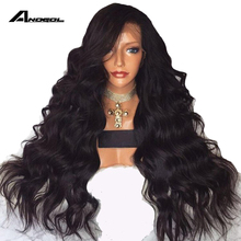 Anogol Long Body Wave 26 Inch Long Black Wig Synthetic Lace Front Wig With Baby Hair High Temperature Fiber Hair Wigs For Women