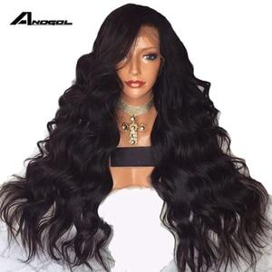 Image 1 - Anogol Uzun Vücut Dalga 26 Inç Uzun Siyah Peruk Sentetik Dantel ön peruk Bebek Saç Ile Yüksek Sıcaklık Fiber Saç Peruk kadınlar için