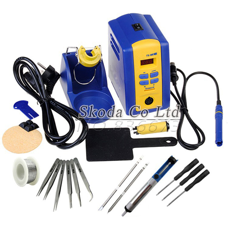 FX-951 fx951 Digital Thermostatic Soldering Station/Solder Electric Soldering Iron 110V/220V+Welding wire+tweezer+iron tip 936 soldering station 220v 60 65w electric soldering iron for solder adjustable machine make seals tin wire solder tip
