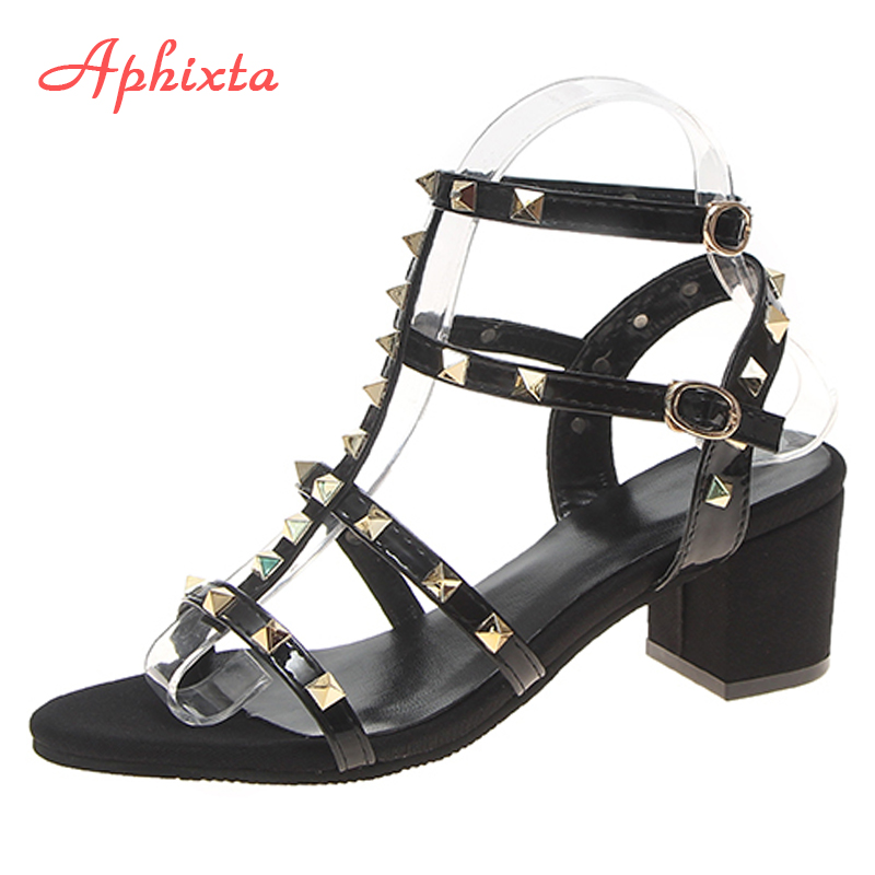 Aphixta Women Shoes Sandal High-Heels Comfortable Big-Size Fashion Rivet 6cm 44 Dress