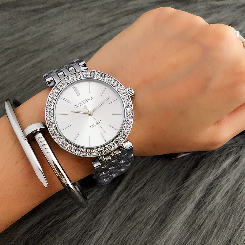 CONTENA Fashion Silver Luxury Watch Women Watches Rhinestone Women's Watches Ladies Watch Stainless Steel Clock Reloj Mujer