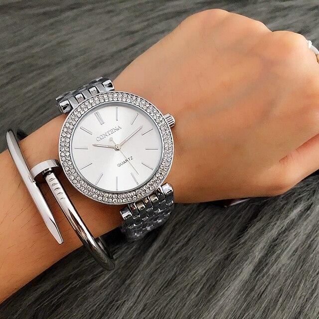 CONTENA reloj de lujo de plata para mujer, reloj de pulsera para mujer, reloj de mujer, reloj de acero inoxidable, reloj de mujer