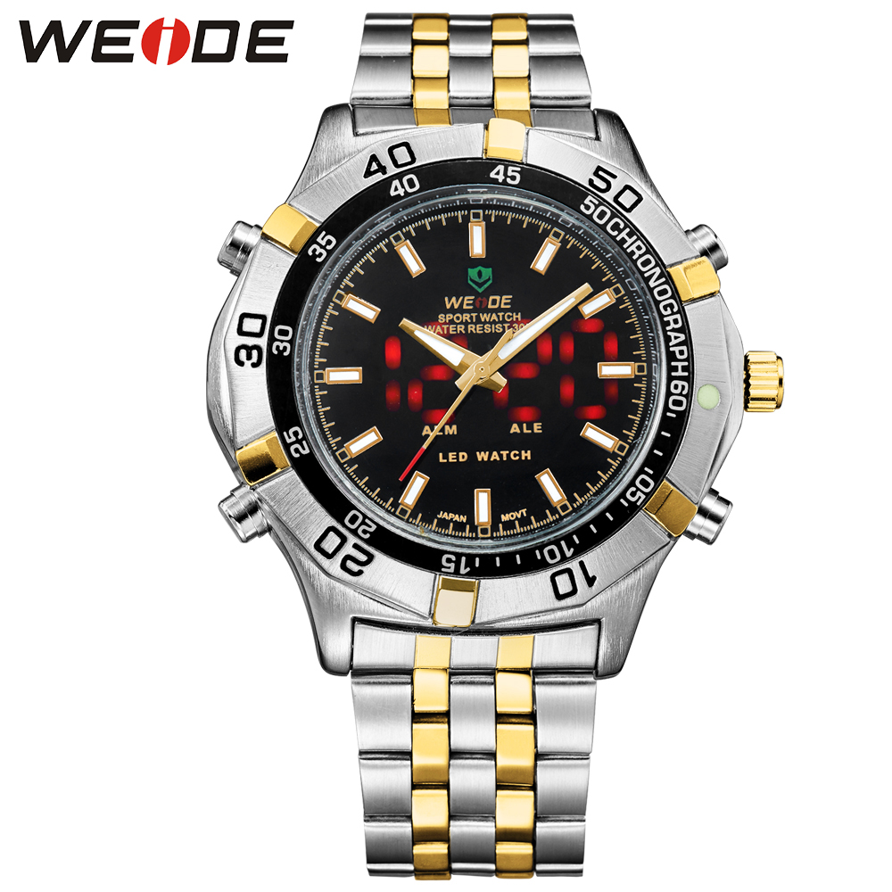 ФОТО WEIDE Luxury Gold Clock Sport Watches Stainless Steel Men Brand Back light Casual Style Analog Display Waterproof WH905