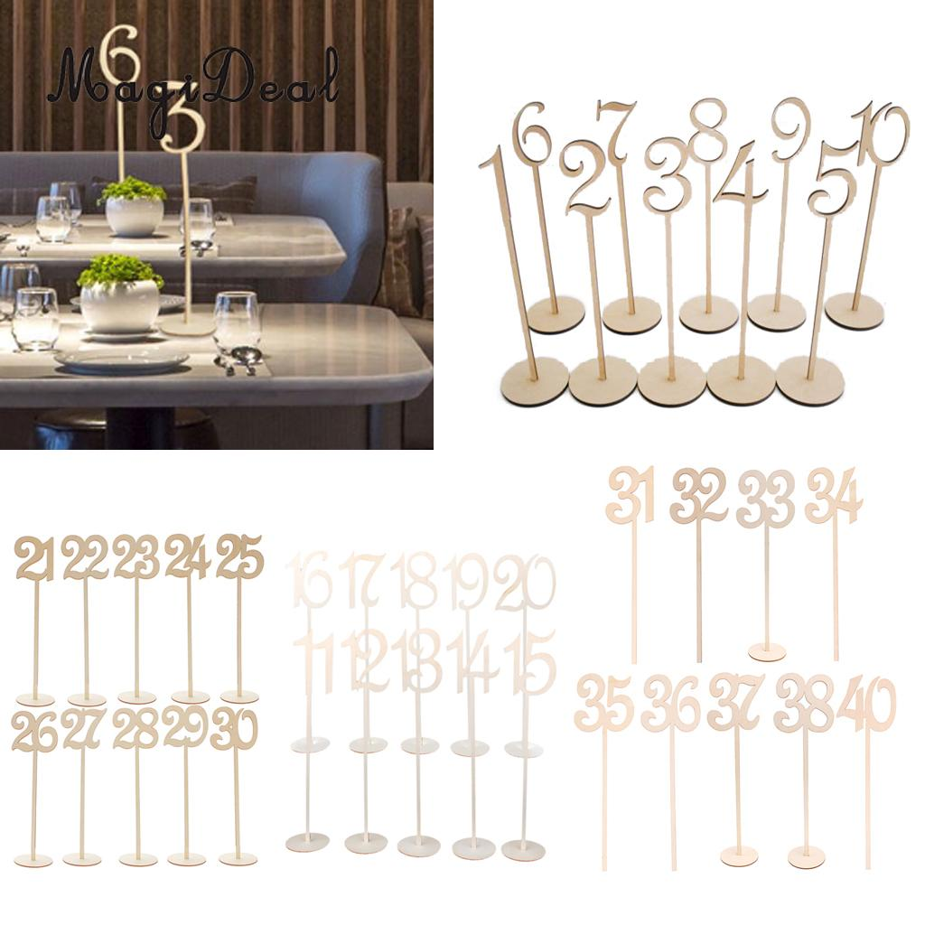 Magideal 10pcs/Lot Wooden 1 - 40 Table Numbers Signs with Holder Base Wedding Party Home Table Decoration