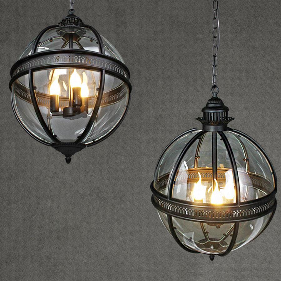 Freie Verschiffen Weinlese Retro Leuchter Lampe Glas Metall Malerei - Innenbeleuchtung - Foto 5