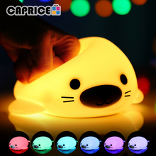 Night Light Soft Silicon Mini LED Lamp Lights 5V 1200 mAhBattery Rechargeable Colorful Lighting Inductive Cute Animal D Hb