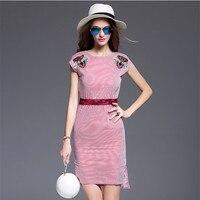 Frauen Verical Striped Bodycon Kleid Sommer OL Arbeitskleidung Robe Tiger Stickerei Weibliche Blau Rot Dünne Kleider Kleidung