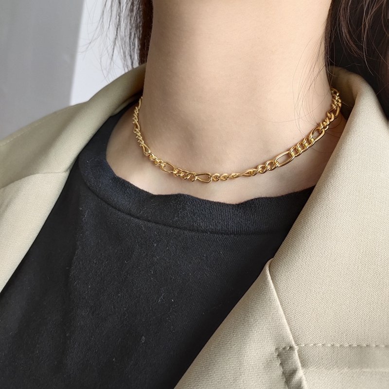 LouLeur 925 sterling silver crude chain choker gold fashion simple temperament elegant necklace for women sexy