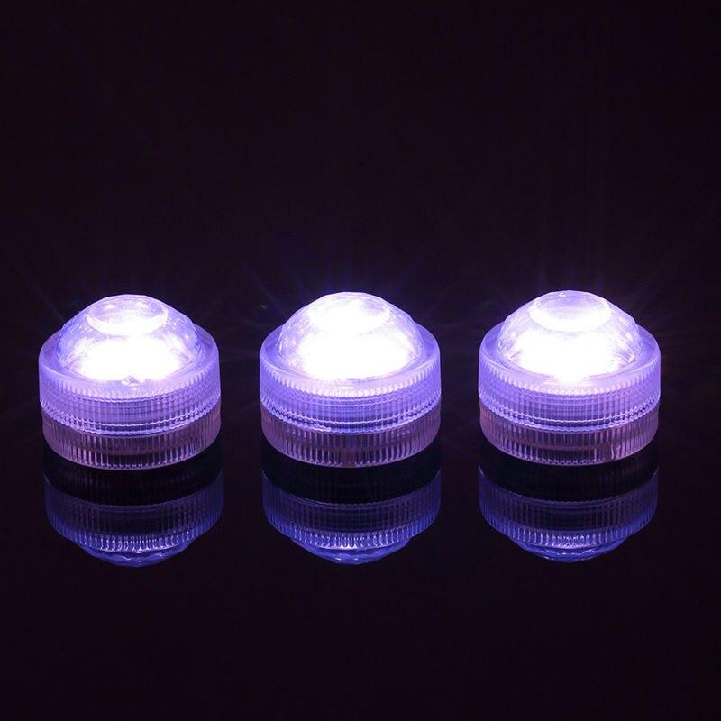 100pcs/Lot 3CM 3LEDs Submersible LED Light Candle Tea Light with Remote Controller, Multicolors, White , Warm White Wedding Deco