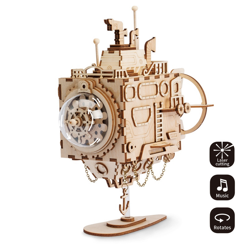 Robotime Creative DIY 3D Steampunk Submarine Wooden Puslespill Assembly Music Box Toy Gave til barn Tenåringer Adult AM680