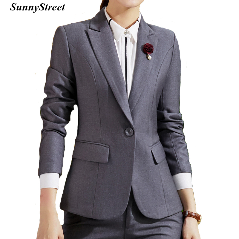 Women Suit Blazer and Skirt Bank HR Career Work Wear Long Sleeve Black Grey Navy OL Business Wear Tow Piece Set