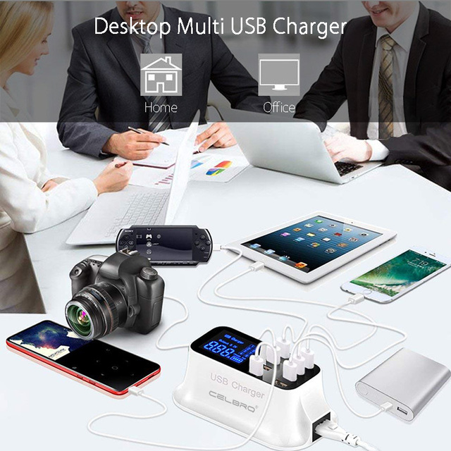 USB Charging Station with 8 Ports With LED Display, Multi USB Phone Charger Desktop USB Charging Station EU US UK Plug for Iphone