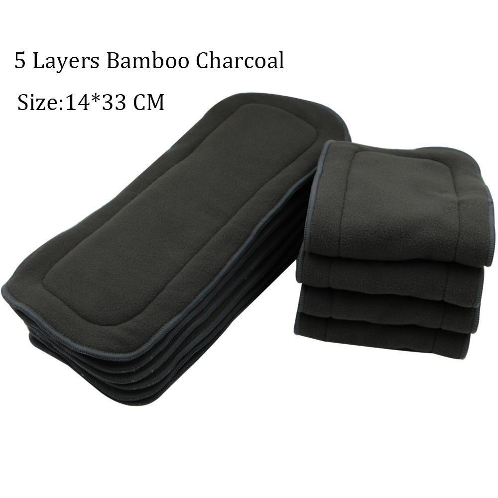 5 warstw wielokrotnego użytku Zmywalny Bamboo Charcoal Inserts - Pieluchy i Trenowanie toalety - Zdjęcie 3