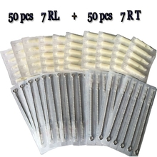 7RL+7RT 50pcs Disposable Tattoo Needles And 50pcs Matched Tattoo Tips Needle With White Black Tips Tattoo Kit