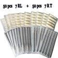 7RL + 7RT 50 unids agujas de tatuajes desechables y 50 unids tatuaje emparejados puntas de las agujas con blanco negro consejos tatuaje del kit envío gratis