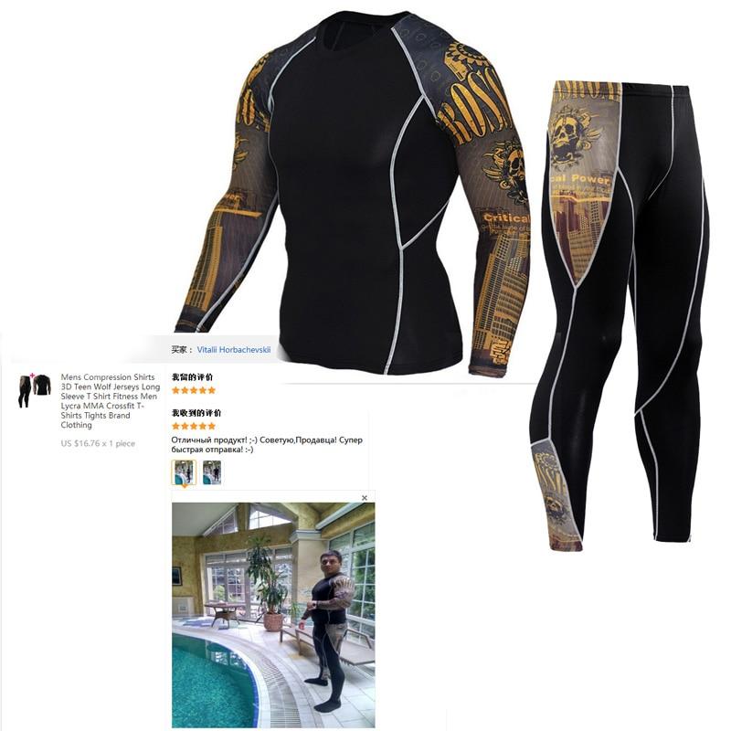 Tracksuit Men Winter Thermal Underwear Suit   Rashgarda MMA Costume   Compression Men T-shirt Shirts Leggings Suits Mma Crossfit
