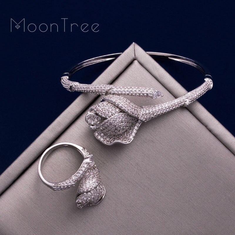 MoonTree fleur de luxe Rose Mirco pavé Microl zircone cuivre femmes fête mariage saoudien arabe Dubai bracelet bague ensemble-in Parures de bijoux from Bijoux et Accessoires    3