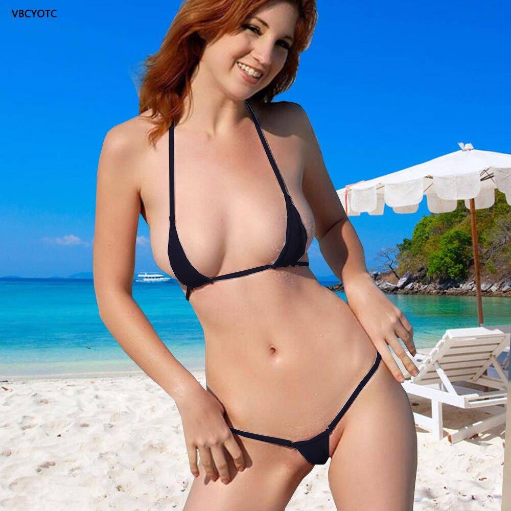 676c85f014c VBCYOTC Mini Bikini 2018 hot Sexy lingerie Micro swimsuit women perspective  solid color three-point