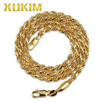 Xukim Jewelry Trendy Hip Hop Jewelry 3mm 925 Sterling Silver Rope Chain Necklace Silver Gold Color Men Women Jewelry Gift
