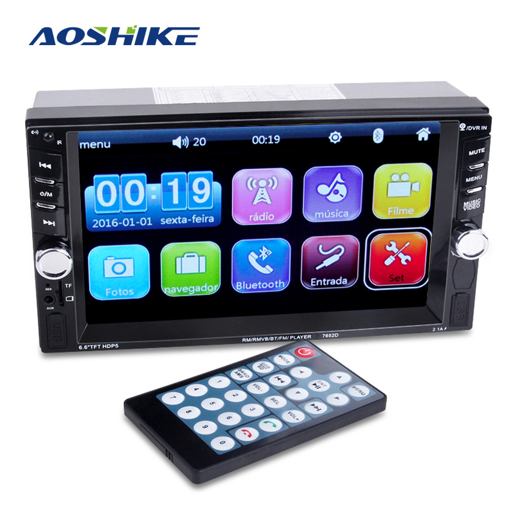 AOSHIKE 2 Din Universal 6.6 Inch Car MP5 Player Car Bluetooth Rear View Priority MP4 Card Machine Remote Control Touch Built-In AOSHIKE 2 Din Universal 6.6 Inch Car MP5 Player Car Bluetooth Rear View Priority MP4 Card Machine Remote Control Touch Built-In