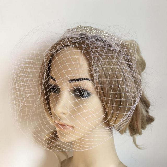 Wedding Birdcage Veil With Crystal Rhinestone White