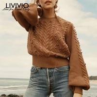 [LIVIVIO] Knitting Sweater Women O Neck Lantern Long Sleeve Patchwork Hair Bulb Pullover Tops Female 2019 Spring Fashion