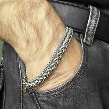 Unique Men's Bracelet Double Chain Bracelet Silver Stainless Steel Wheat Box Chain Link Bracelets Male Jewelry Dropshipping